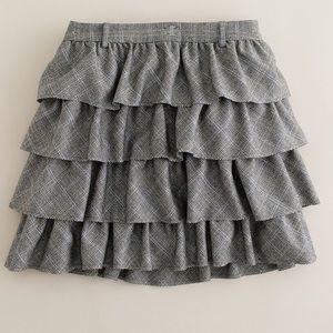 JCrew Wool Plaid Ruffle Skirt